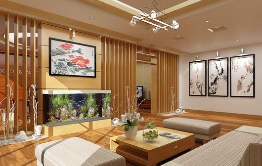 Bể cá phong thủy trong phòng khách hiện đại